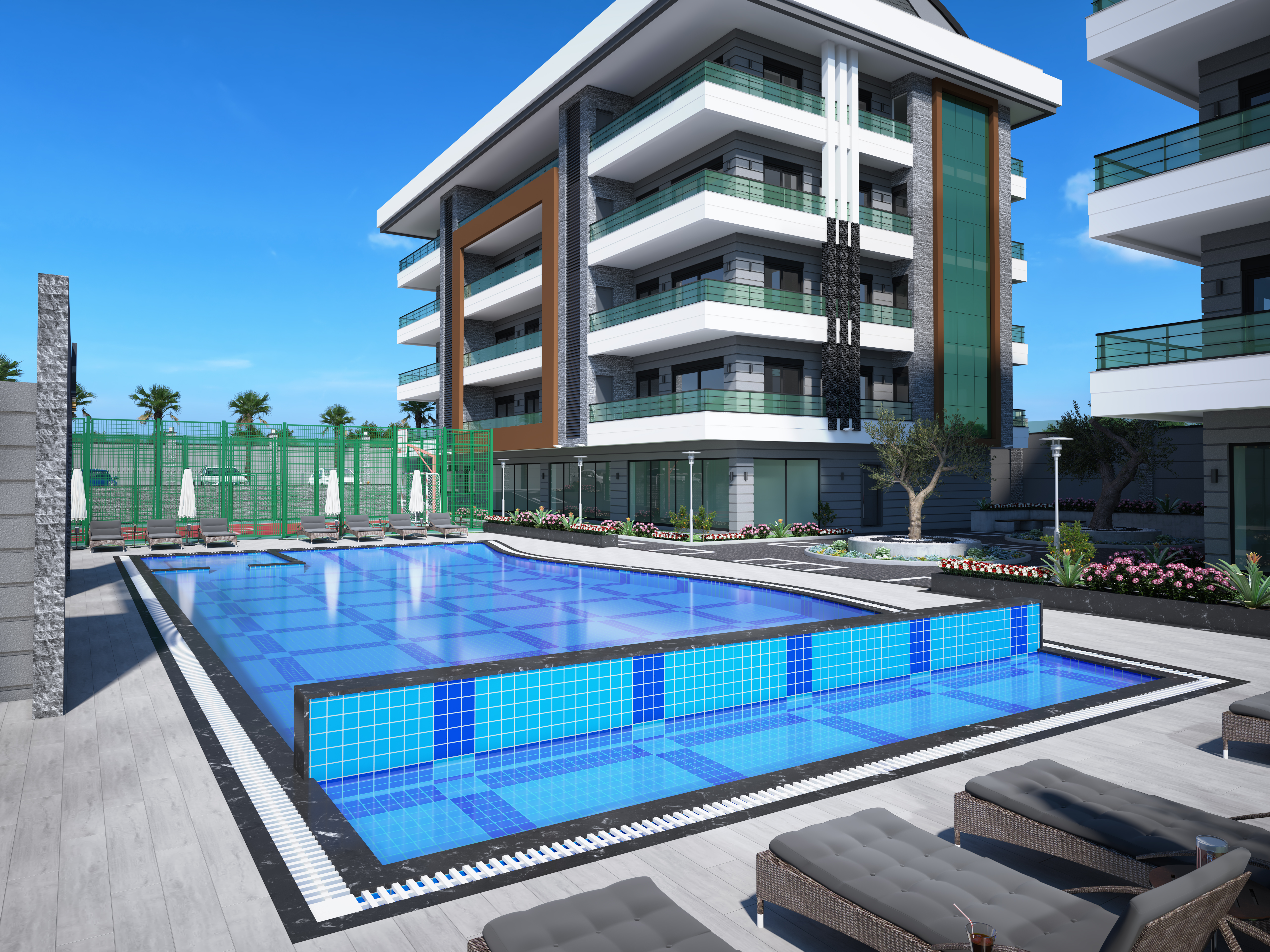 Apartments in Alanya, a complex under construction in Oba